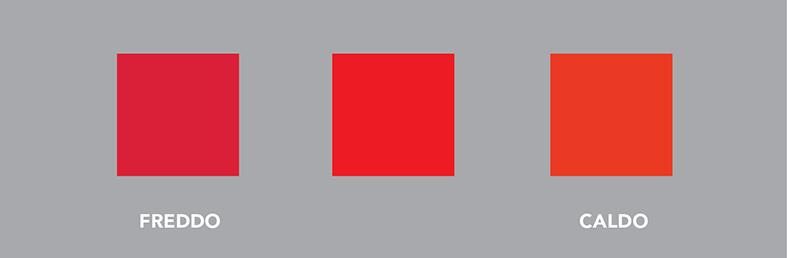 Esempio di : rosso freddo, rosso neutro, rosso caldo.
