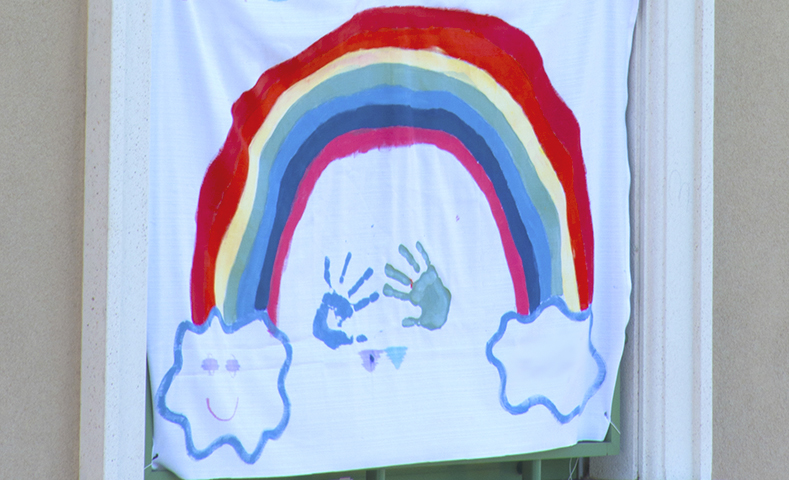 Color & Interior Design. Rainbow drawing, made by children during the lockdown for covid19.